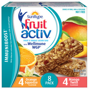 SunRype FruitActiv™ Immuniboost™ bars with Wellmune.