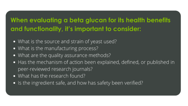 List of questions to ask when evaluating beta glucans